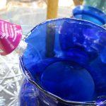 Blue and Teal Garden Glass Sculpture