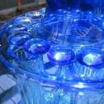Blue Glass Sculpture With Beads and Bud Vases