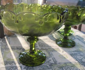 Evergreen Glass Sculpture With Candy Dishes