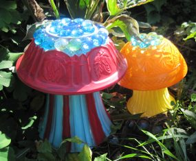 Painted Glass Beaded Mushrooms for the Garden
