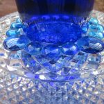 Blue Glass Sculpture With Teal Solar Light