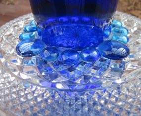 Blue Glass Sculpture With Teal Solar Light