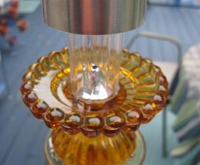 Gold Glass Sculpture With Solar Light