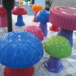 Colorful Glass Mushrooms for the Garden