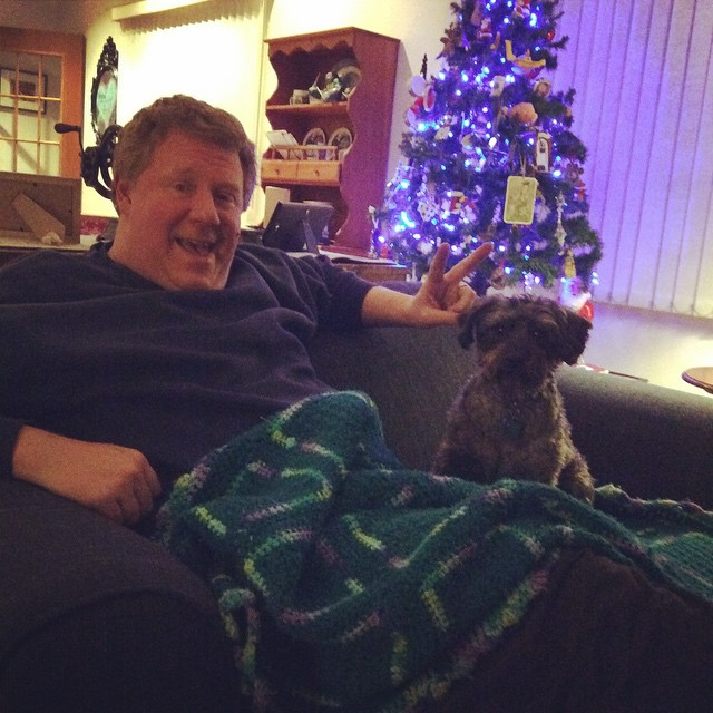 Hubs and the doggie happy at Christmas. Love them both!