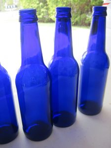 Glass Cobalt Bottle Flowers