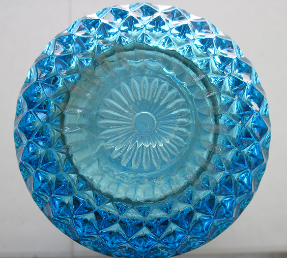 Teal and White Glass Sculpture