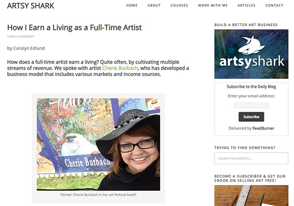 My Interview with the Artsy Shark Website on How I Make a Living as an Artist