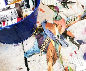 Fluid Acrylics and Paper Birdies